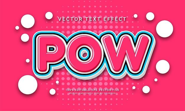 Pow comic editierbarer texteffekt mit cartoon-aufkleber-thema