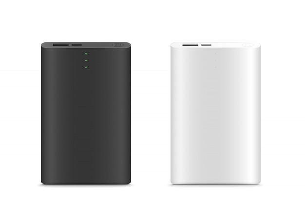 Power bank isoliert. schwarz-weiß-farbe. realistic.vector illustration