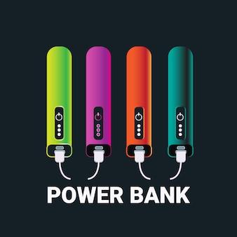 Power banks set bunte ladegeräte für tragbare akkus