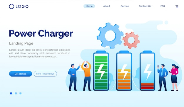 Power charger landing page website illustration vektor vorlage