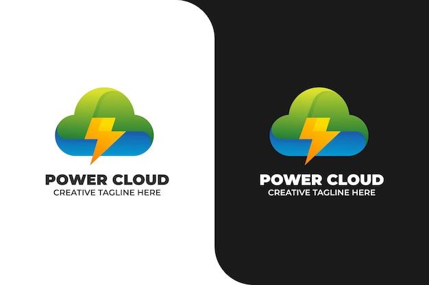 Power cloud energiesparendes logo mit farbverlauf