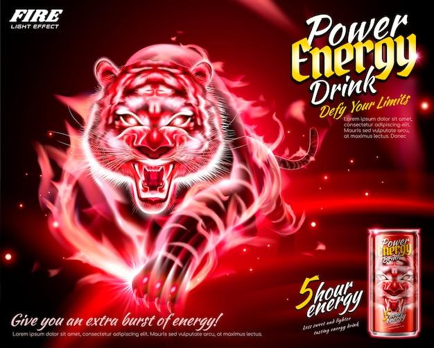 Power energy drink-anzeigen mit flammen-tiger-effekt