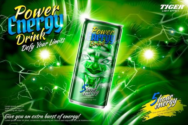 Power energy drink-anzeigen mit grünem blitzeffekt