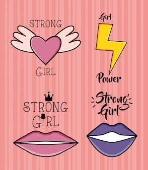 Power girl aufkleber pop-art-stil