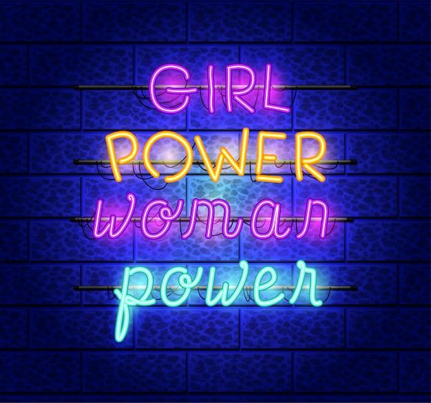 Power girl schriftarten neonlichter