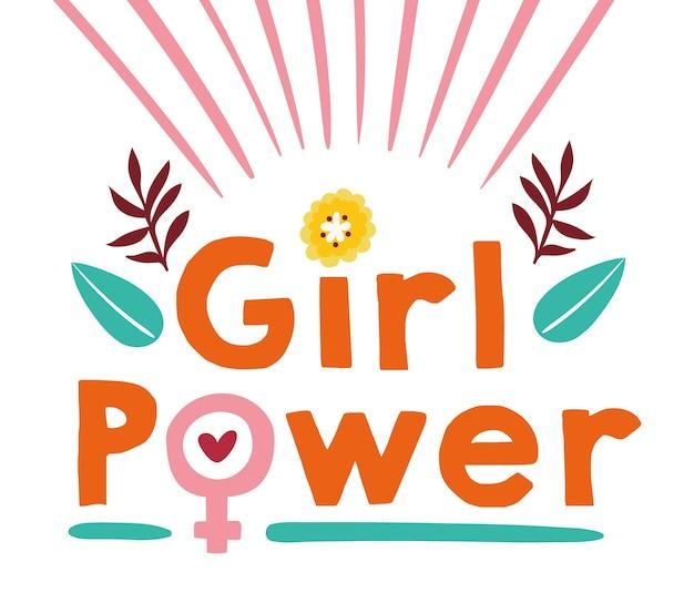 Power girl schriftzug mit blumen garten szene vektor-illustration design