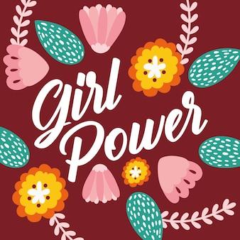 Power girl schriftzug mit blumen garten vektor-illustration design