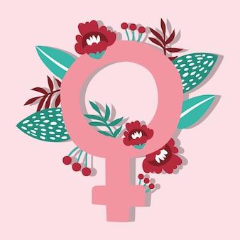 Power girl symbol mit weiblichem geschlecht und blumen vektor-illustration design