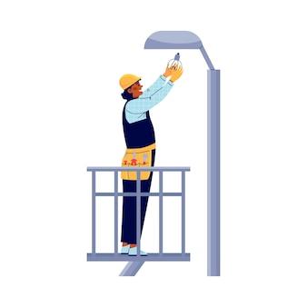 Power lineman oder elektro ersetzt glühbirne auf post-vektor-illustration isoliert
