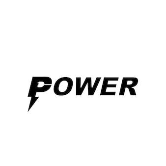 Power-logo-typografie mit angeschraubter p-initiale