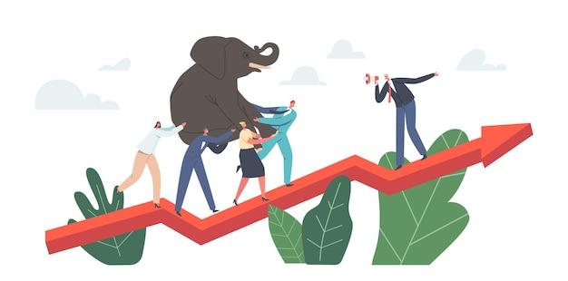 Power-team-charaktere klettern am riesigen wachsenden pfeildiagramm mit schweren elefanten an den händen. führend mit lautsprecherverwaltungsprozess. geschäftsleute teamwork herausforderung konzept. cartoon-vektor-illustration