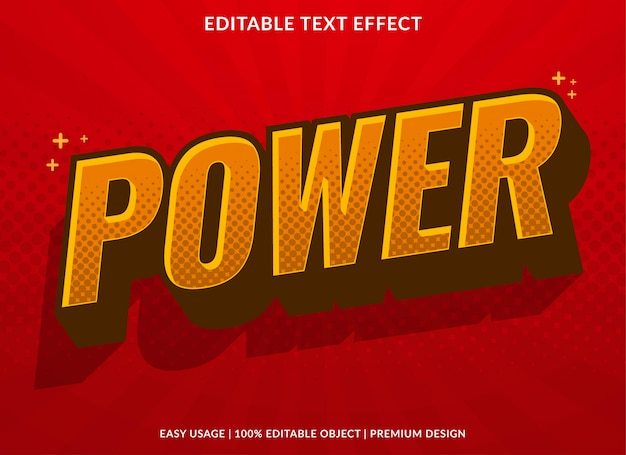 Power-text-effekt-vorlage mit pop-art und retro-stil