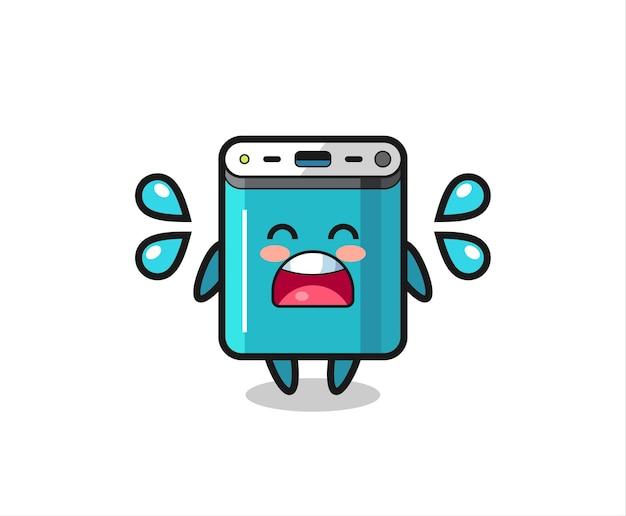 Powerbank-cartoon-illustration mit weinender geste, süßem stildesign für t-shirt, aufkleber, logo-element