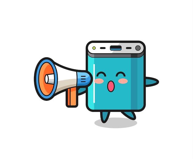 Powerbank-charakterillustration, die ein megaphon hält, niedliches design für t-shirt, aufkleber, logo-element