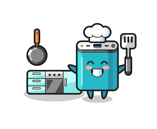 Powerbank-charakterillustration, während ein koch kocht, niedliches design für t-shirt, aufkleber, logo-element