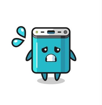 Powerbank-maskottchen-charakter mit ängstlicher geste, süßem design für t-shirt, aufkleber, logo-element