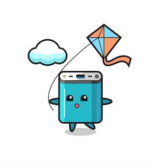 Powerbank-maskottchen-illustration spielt drachen, niedliches design für t-shirt, aufkleber, logo-element