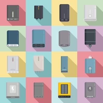 Powerbank-symbole stellen flachen vektor ein. alternative leistung. batteriebank