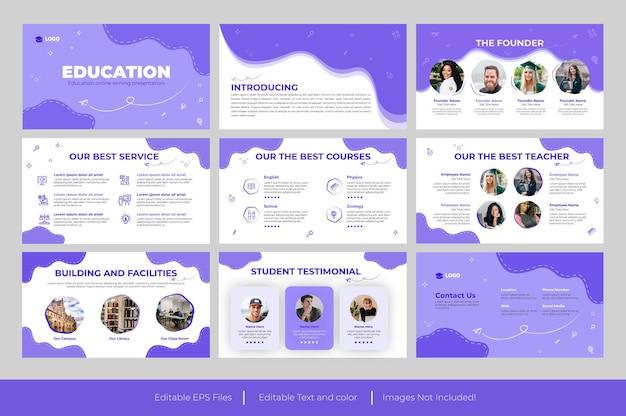 Powerpoint-präsentationsvorlage für bildung und google slides-designs