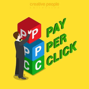 Ppc pay-per-click flach isometrisch