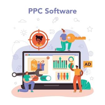 Ppc-spezialist online-service oder plattform. pay-per-click-manager