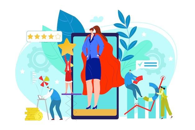 Pr-firmenkonzept, illustration unternehmensführung illustration illustration. idee, ankündigungen über massenmedien zu machen, um für geschäfte zu werben. pr marketingstrategie.