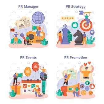 Pr-manager eingestellt. spezialist für die entwicklung kommerzieller markenwerbung und den aufbau von kundenbeziehungen. massenmediale unterstützung des unternehmens. flache vektorillustration