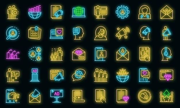 Pr-spezialisten-icons gesetzt. umrisse von pr-spezialisten-vektorsymbolen neonfarbe auf schwarz