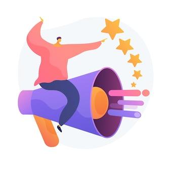 Pr- und marketingkampagne. propaganda, nachrichten, rundfunk. pr-agentur. megaphon und ranking stars isolierten flaches designelement.
