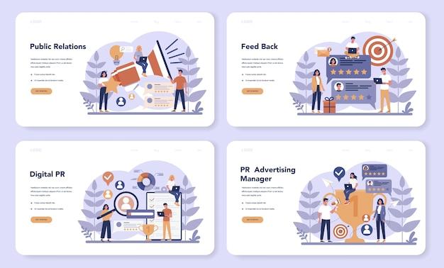 Pr-web-landingpage-set. idee, ankündigungen über massenmedien zu machen, um für ihr unternehmen zu werben. management- und marketingstrategie. flache vektorillustration