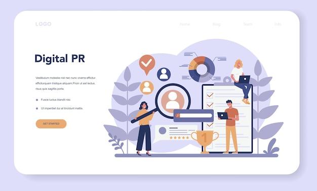 Pr-webbanner oder zielseite. idee, ankündigungen über massenmedien zu machen, um für ihr unternehmen zu werben. management- und marketingstrategie.