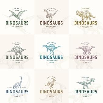 Prähistorische dinosaurier-etikettenvorlagen des vergnügungsparks setzen