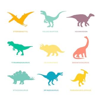 Prähistorische dinosaurier gesetzt