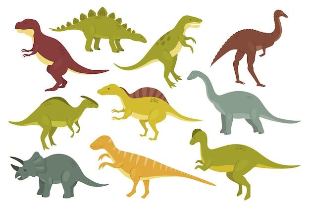 Prähistorische dinosaurier isolierten satz alte wildtiermonster-dino-sammlung