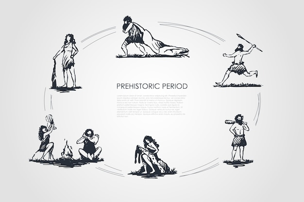 Prähistorische personenkonzeptsatzillustration