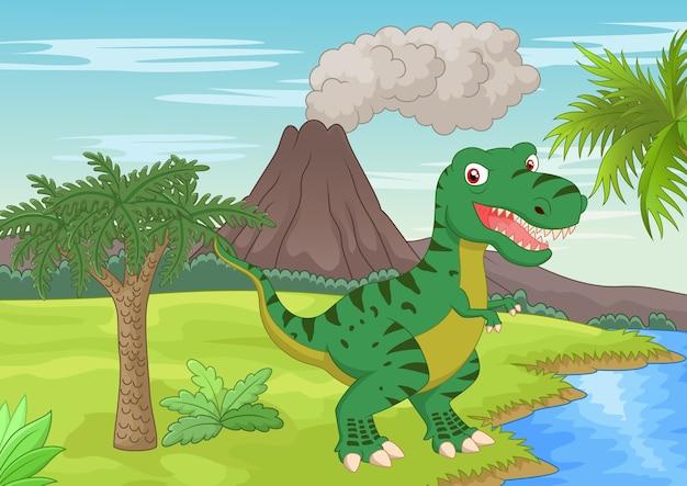 Prähistorische szene mit tyrannosaurus cartoon
