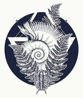 Prähistorische tätowierungskunst der nautilusmuschel