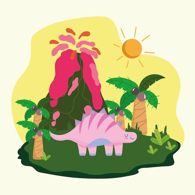 Prähistorischer dinosaurier und vulkan