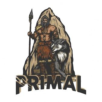 Prähistorischer krieger, der mit einem wolf steht