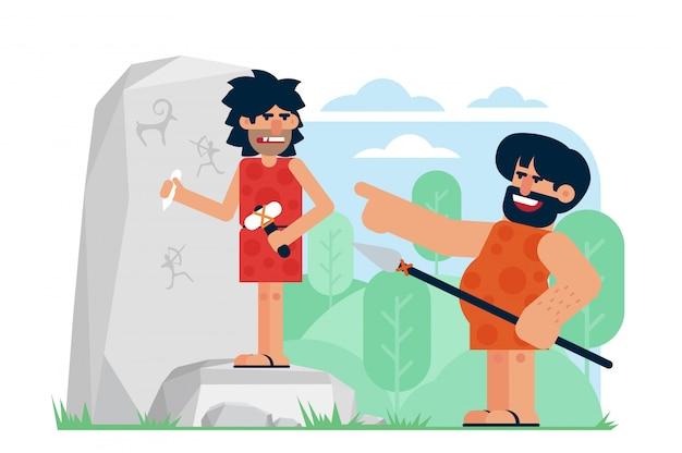 Prähistorischer mann mit speer, der lacht und auf genervten künstler zeigt, der petroglyphen auf felsen schnitzt. spott an der flachen illustration der karikatur intelligenter personen.