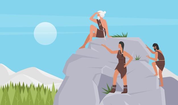 Prähistorischer stamm von steinzeitmenschen höhlenmenschen, die felsen niedliche frau in tierhaut klettern