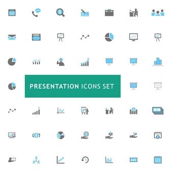 Präsentation blau und grau icons set