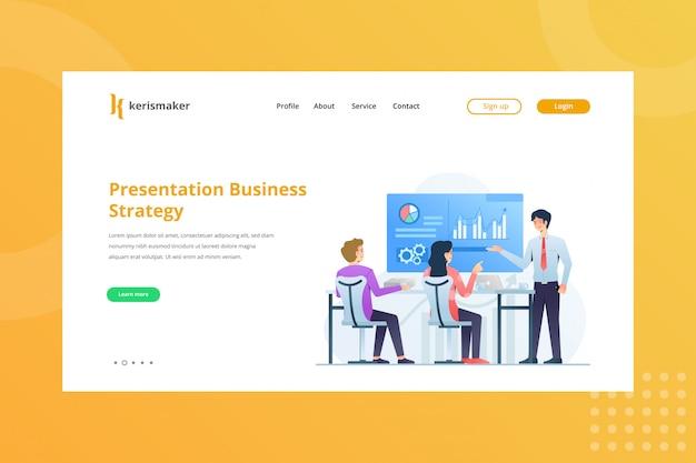 Präsentation business strategy illustration für business management concept auf landing page