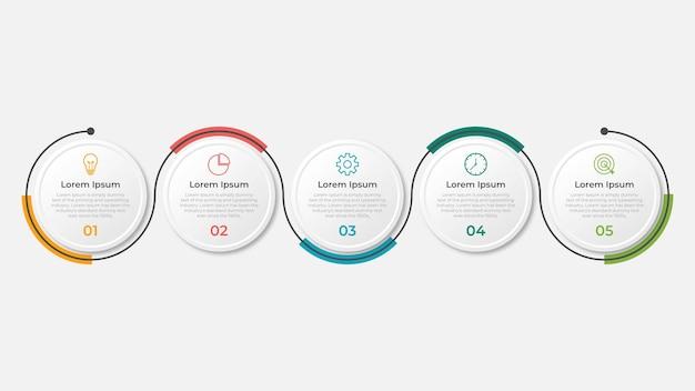 Präsentations-business-infografik-vorlage mit 5 optionen
