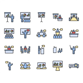 Präsentations- und meeting-icon-set