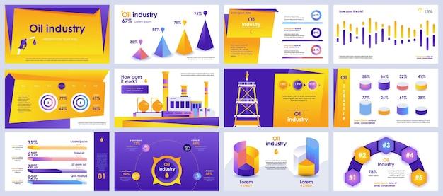 Präsentationsfolien der ölindustrie vorlagen aus infografik-elementen