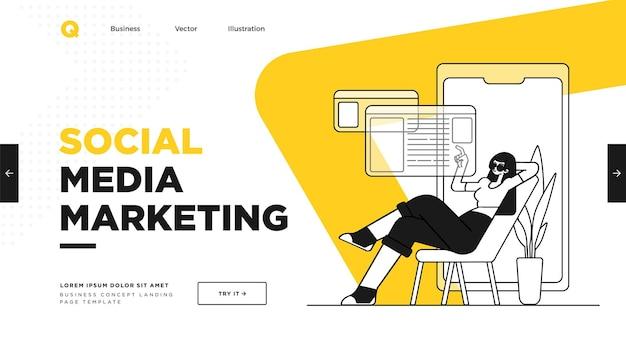 Präsentationsfolienvorlage oder landingpage-website-design illustrationen zum geschäftskonzept