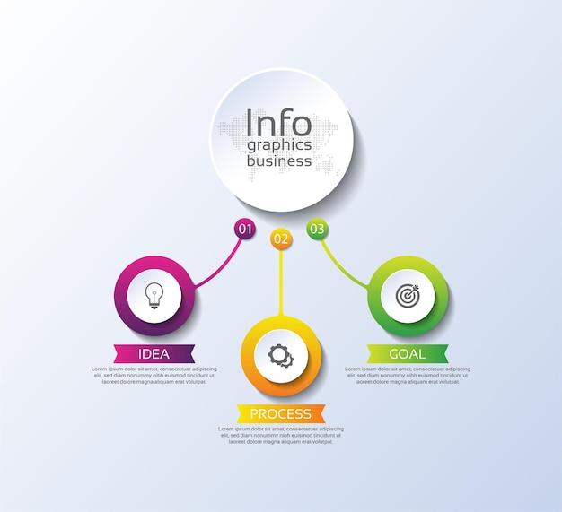 Präsentationsgeschäft infografik vorlage kreis bunte elemente farbverlauf mit drei schritt