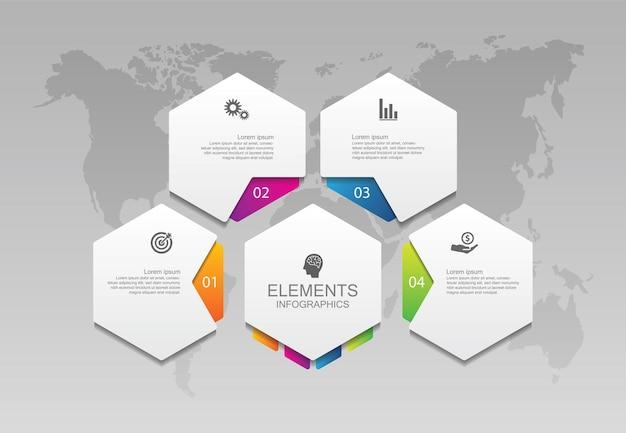 Präsentationsgeschäft infografik vorlage kreis bunte elemente mit vier schritt