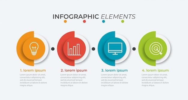 Präsentationsgeschäft infografik vorlage mit 4 optionen